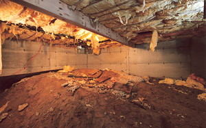 Crawl Space Moisture Barrier before in San Antonio