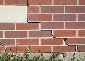 a foundation wall crack on a Devine home.