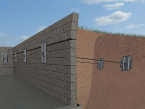 A graphic illustration of a foundation wall system installed in Cuero