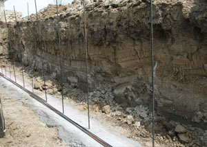 Soil layers exposed while excavating to construct a new foundation in Boerne